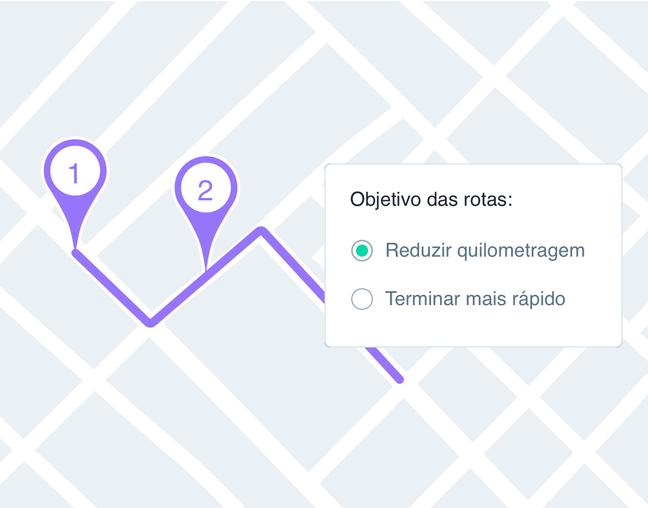 Painel da Cobli mostrando permitindo o usuário definir o objetivo da rota: reduzir quilometragem ou termina-lá mais rapidamente.
