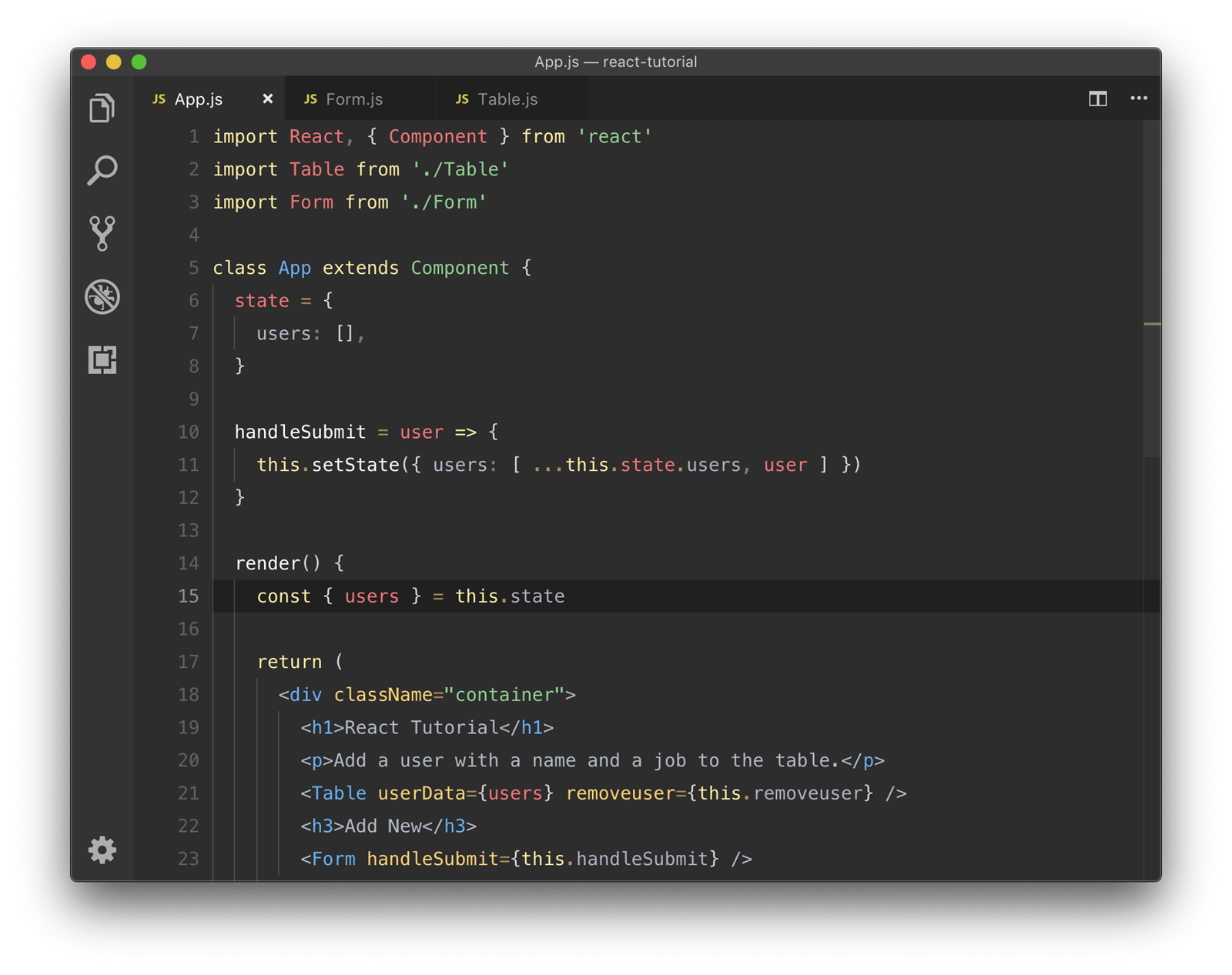 A code editor with a middle-dark grey background, and pastel-ish primary colors for the foreground