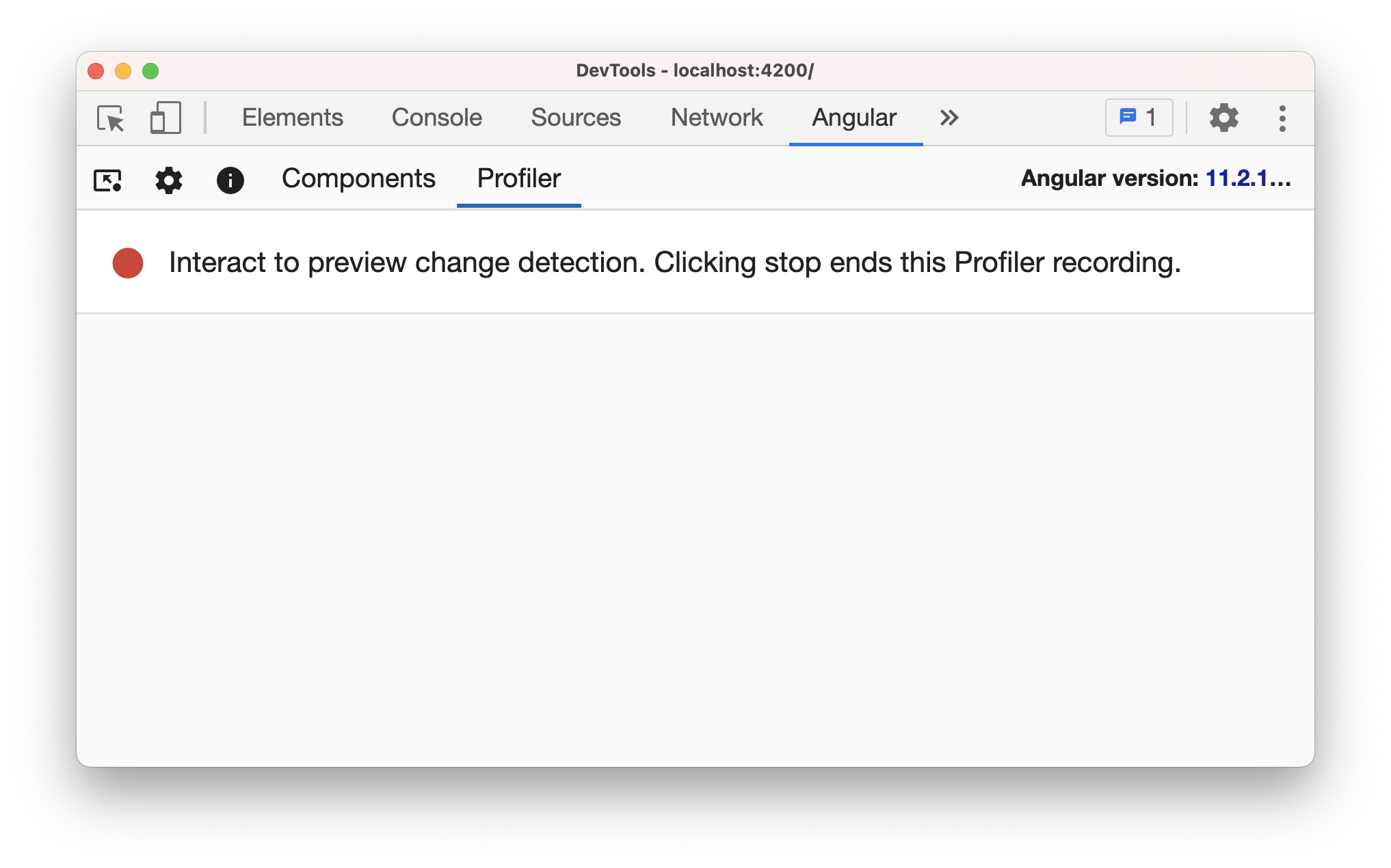 Angular dev tools profiler recording