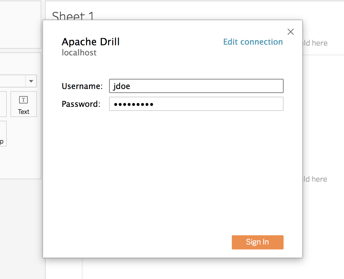 Connecting to Dremio from Tableau