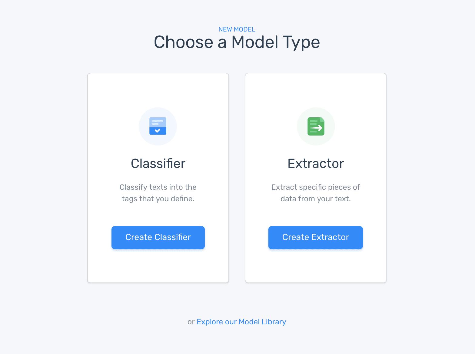 Choose model type