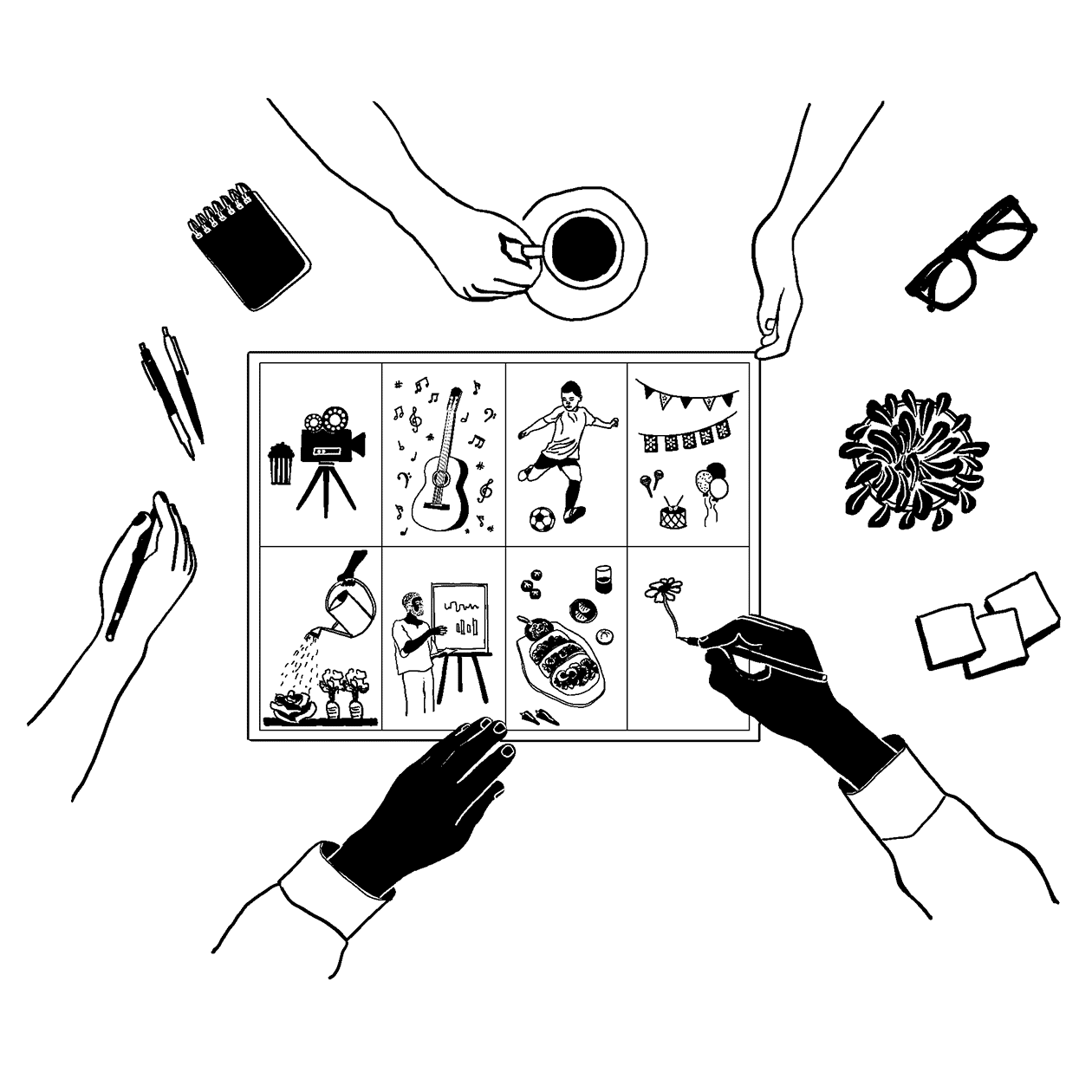 Black and white drawing showing a nearly-completed Design Sprint worksheet. The worksheet has 8 squares, and different drawings representing kinds of community strategies are in each square (a film camera, a guitar, someone playing soccer, a party, a community garden, a community workshop, and a meal). Hands are shown working on completing the drawing together.