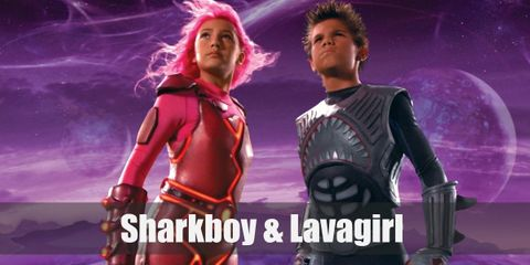 Sharkboy wears a wetsuit like costume with shark-like fins and a shark's face. Lavagirl wears a pink long-sleeved jumpsuit that has lava swirling in it.