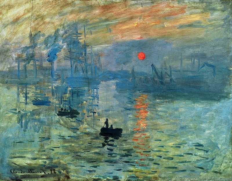 'Impression, Sunrise' by Claude Monet ca. 1873, currently at Musée Marmottan Monet, Paris, France