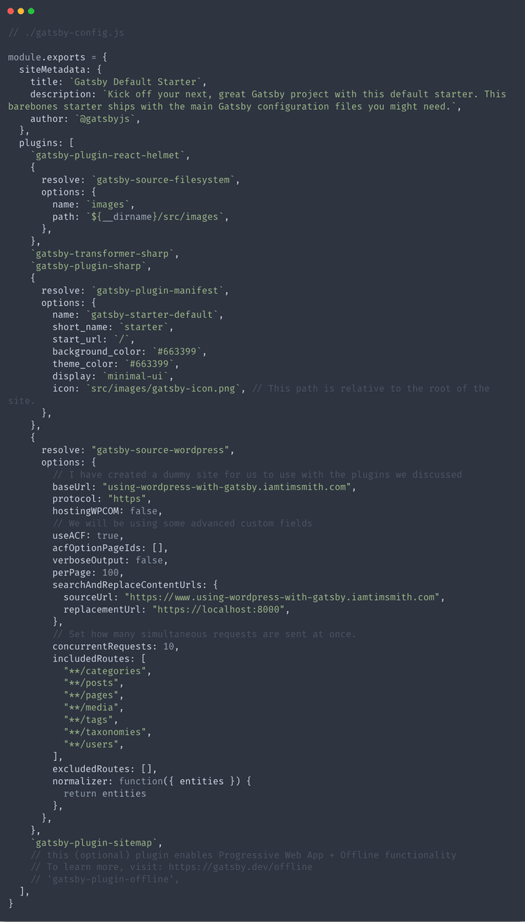 Finished gatsby-config.js file
