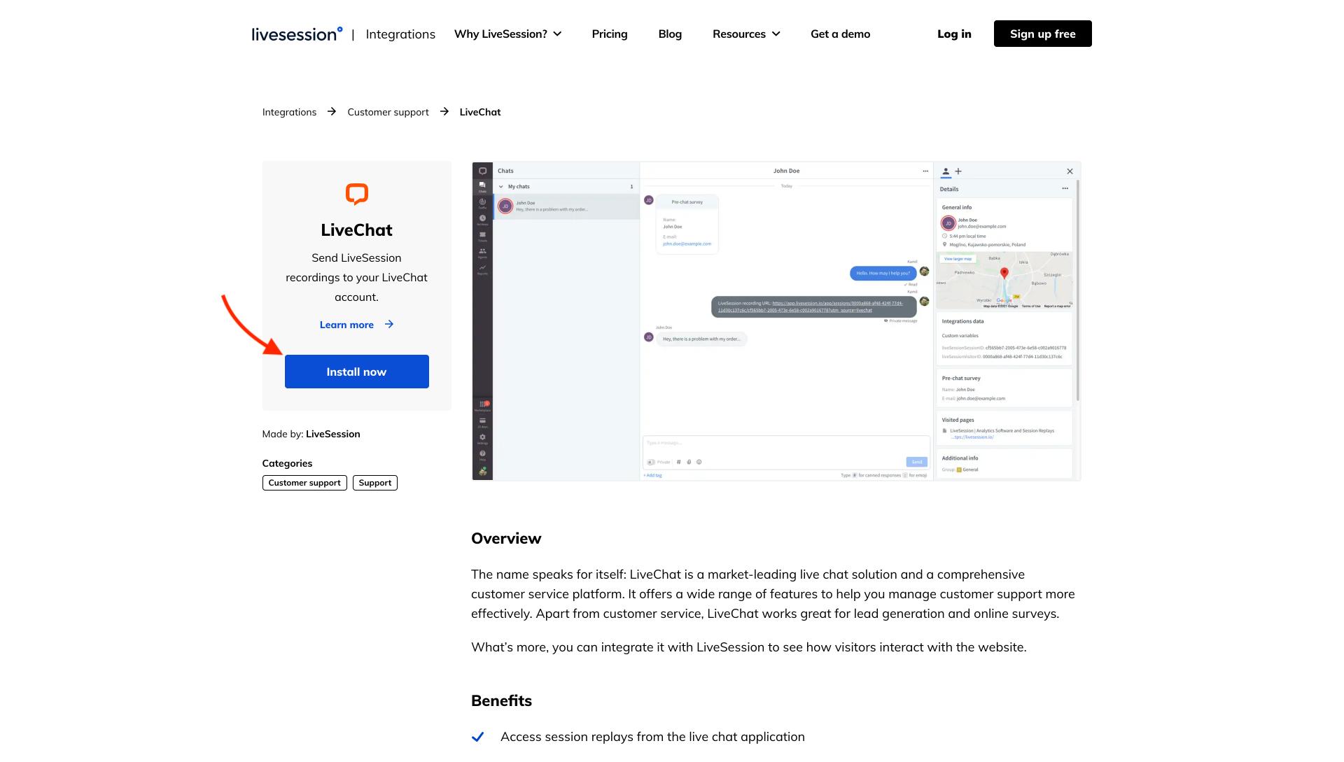 LiveChat integration