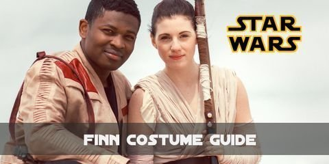 Finn or F-2187, a rebel scum got his iconic look consisting of only a black, long sleeve t-shirt along with some black pants and a very distinctive brown leather jacket with red patches
