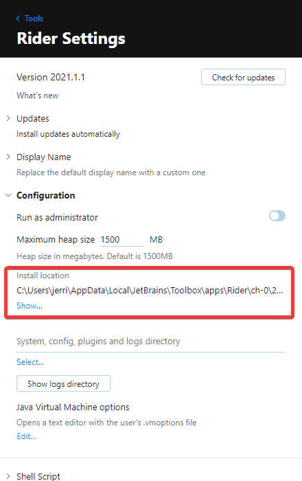 Locating the installation location for Rider