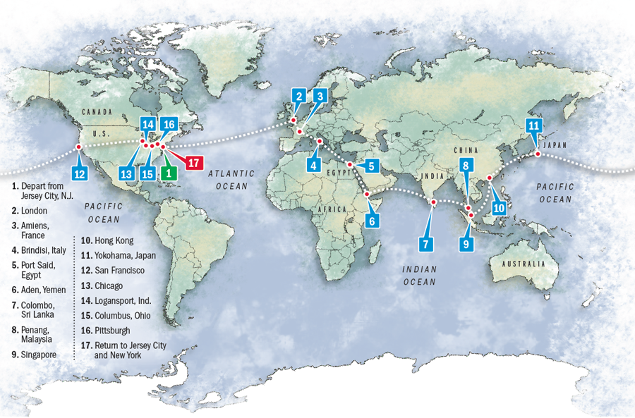 map of nellie bly's route around the world