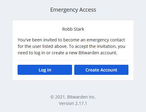 Emergency access invitation