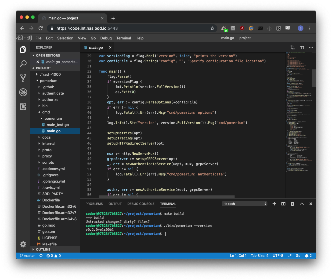 visual studio code building pomerium
