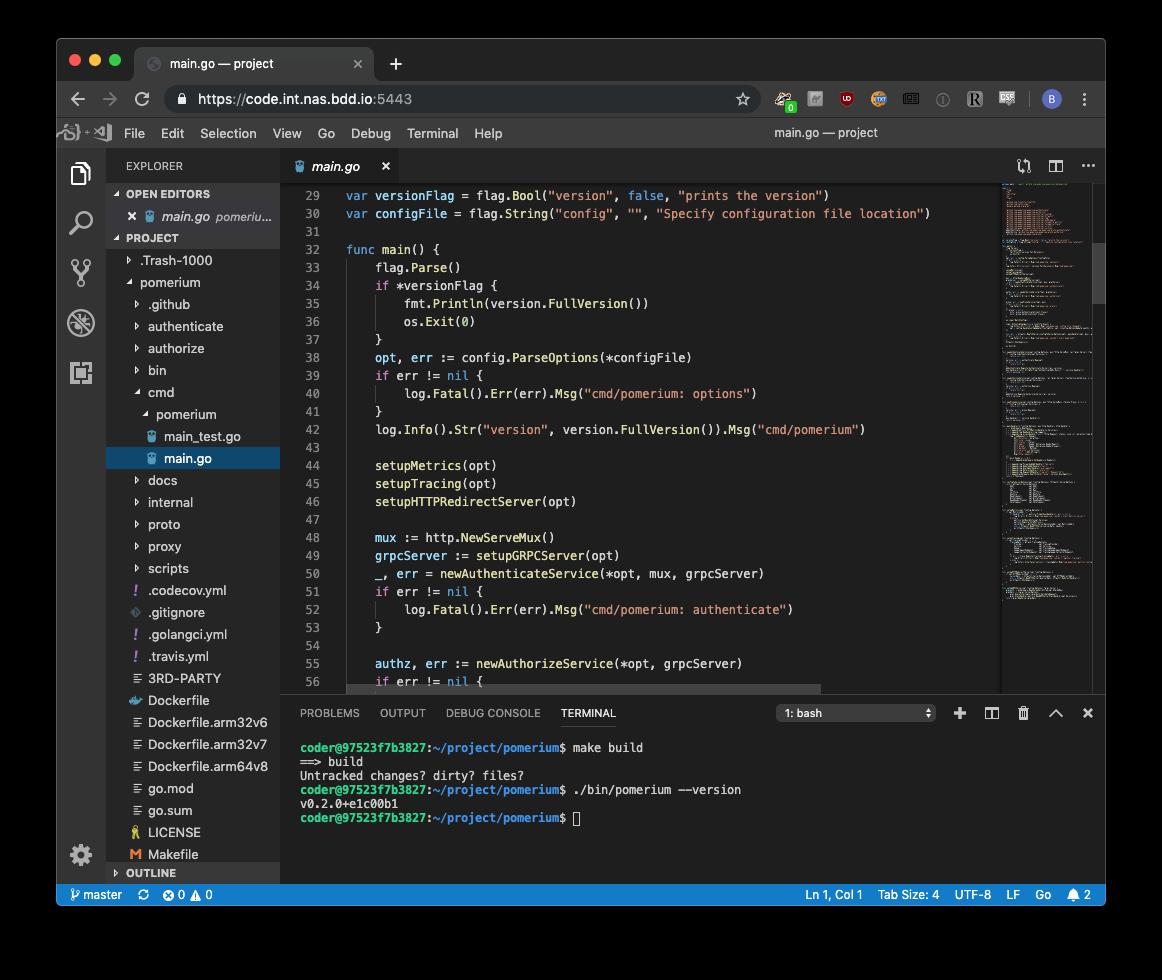 visual studio code building pomerium