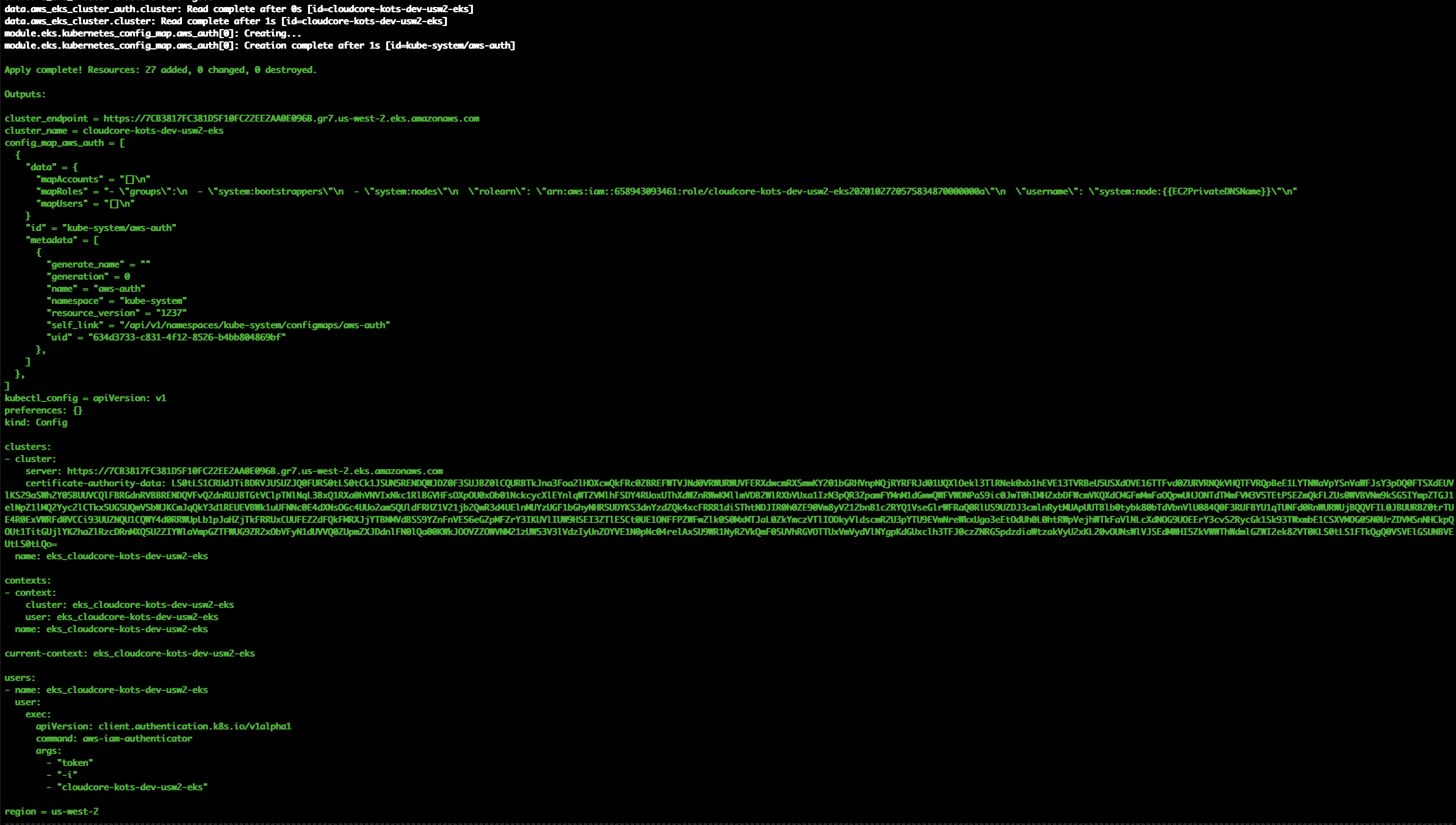 AWS Terraform Successful Install