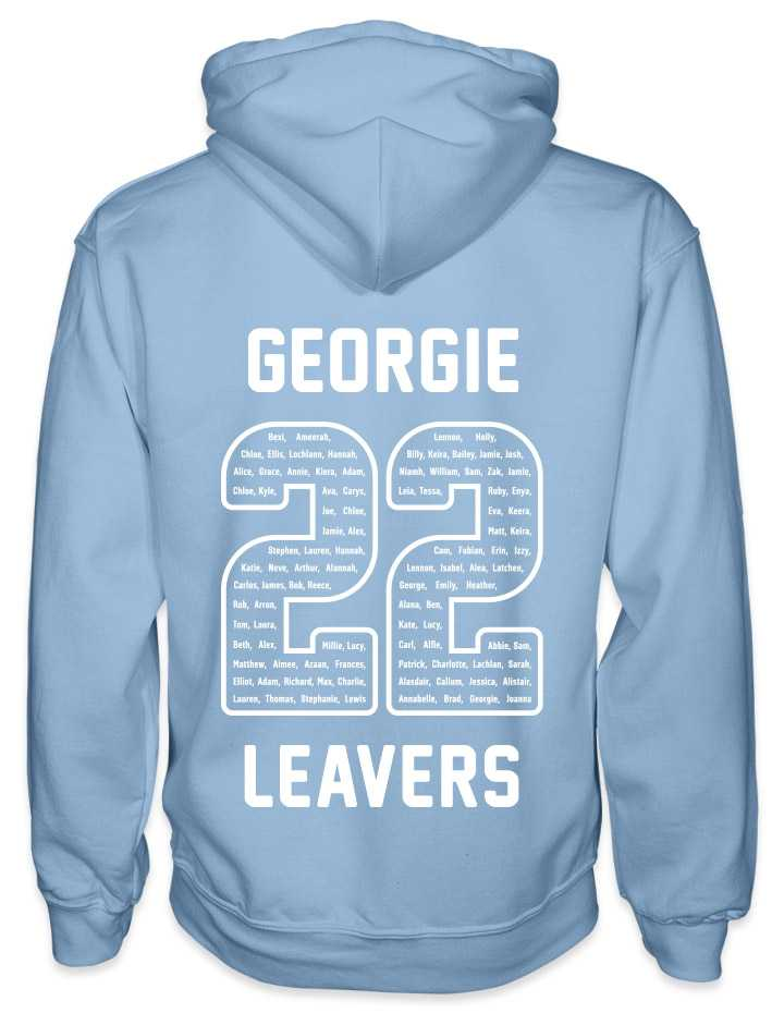 leavers hoodies rounded font design with a nickname printed across shoulders, names in a number 22, leavers printed at the bottom