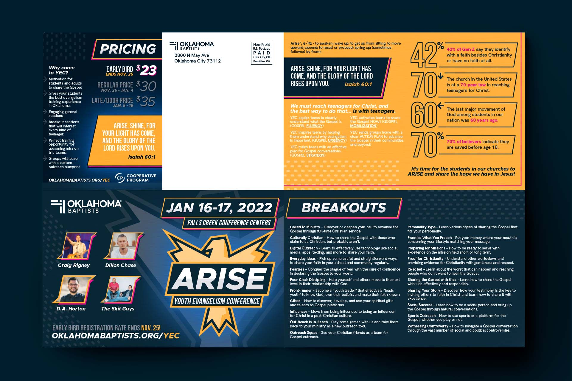 The back of the poster mailer with details about registration and pricing.