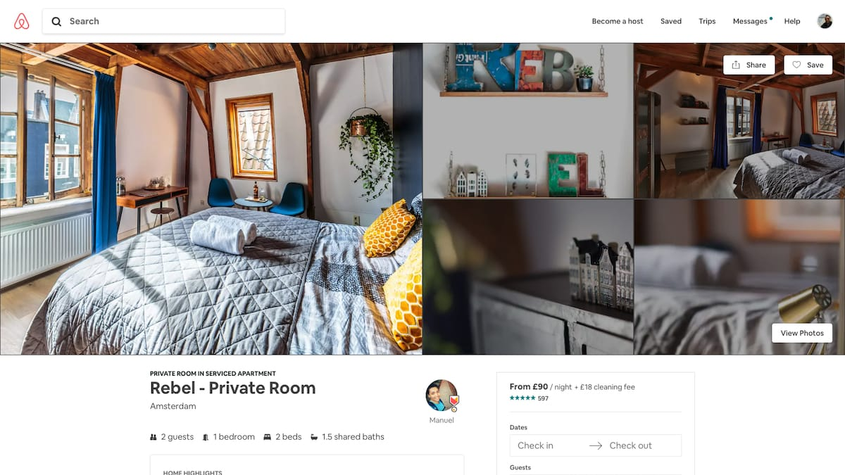 Functional attractive user interface from Airbnb