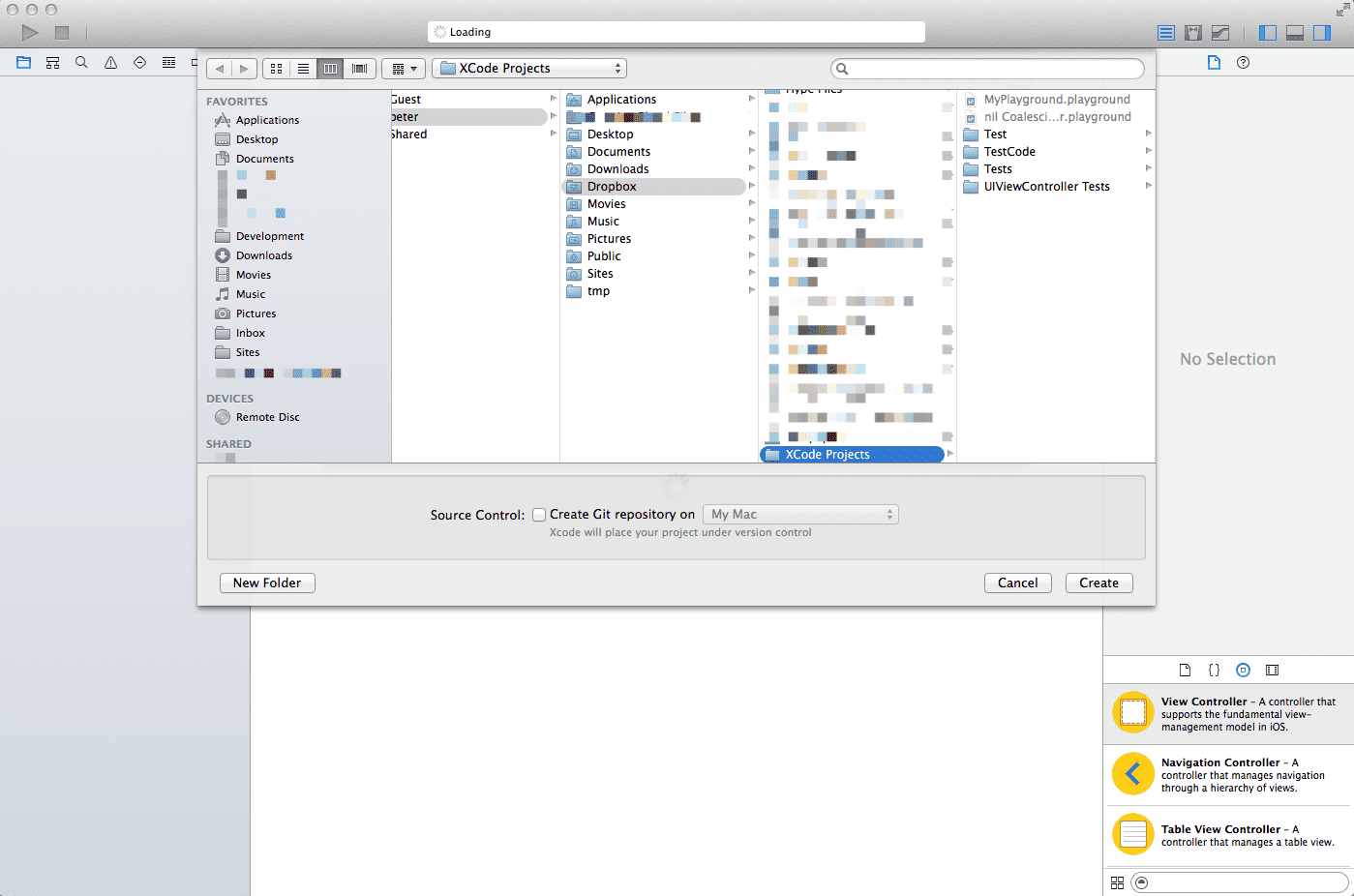 Xcode 6 - Save New Project Location Panel