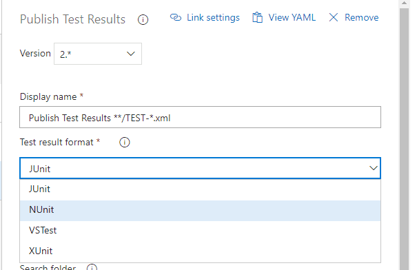 Test Result Options