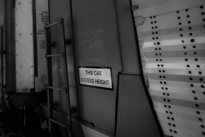 A sign declaring 'this car excess height' next to a ladder on the side of a train car. The space above the sign has been prominently tagged with graffiti.