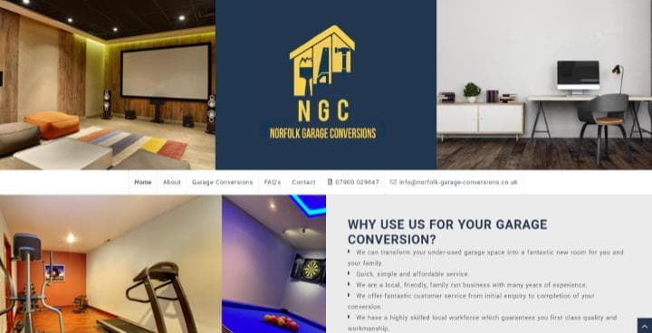 Norfolk Garage Conversions website frontpage