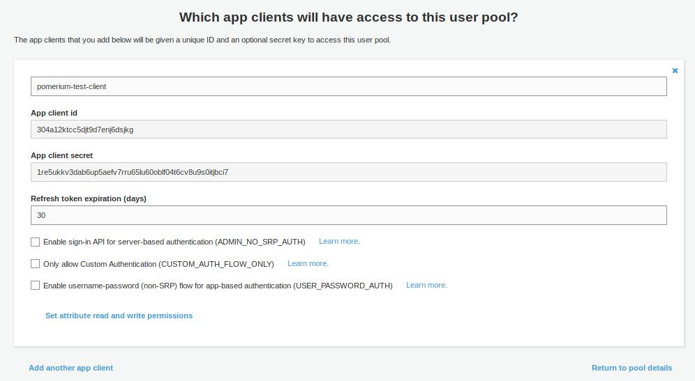 AWS Cognito App Client Details
