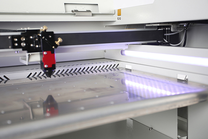 close up of laser bed on the Aeon Mira CO2 Desktop Laser Cutting Machine