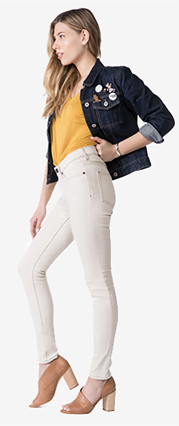 mobile woman jeans