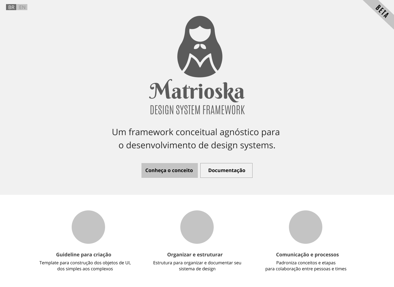 Imagem do wireframe para o site da documentação do Matrioska