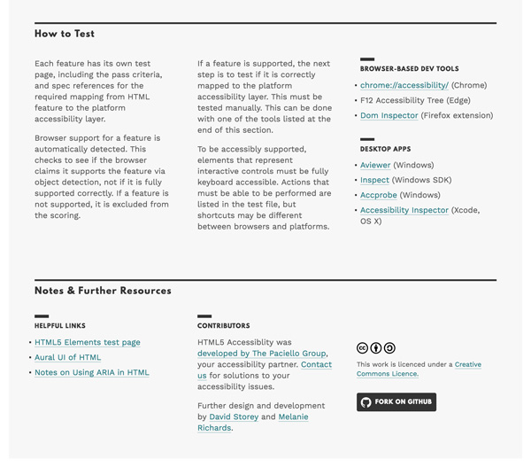 Screenshot of the more information section of HTML5 Accessibility