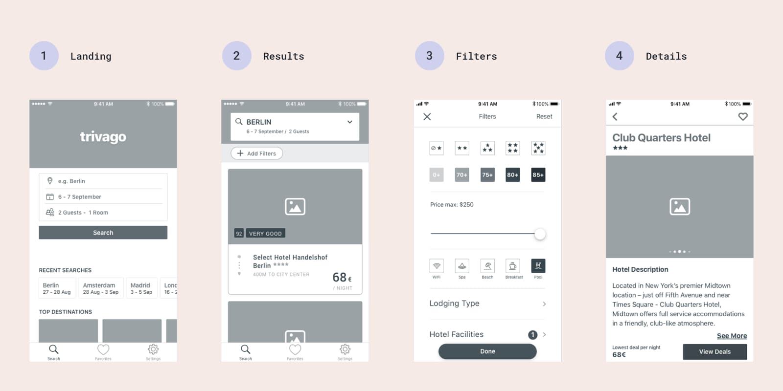 Native app wireframe prototype