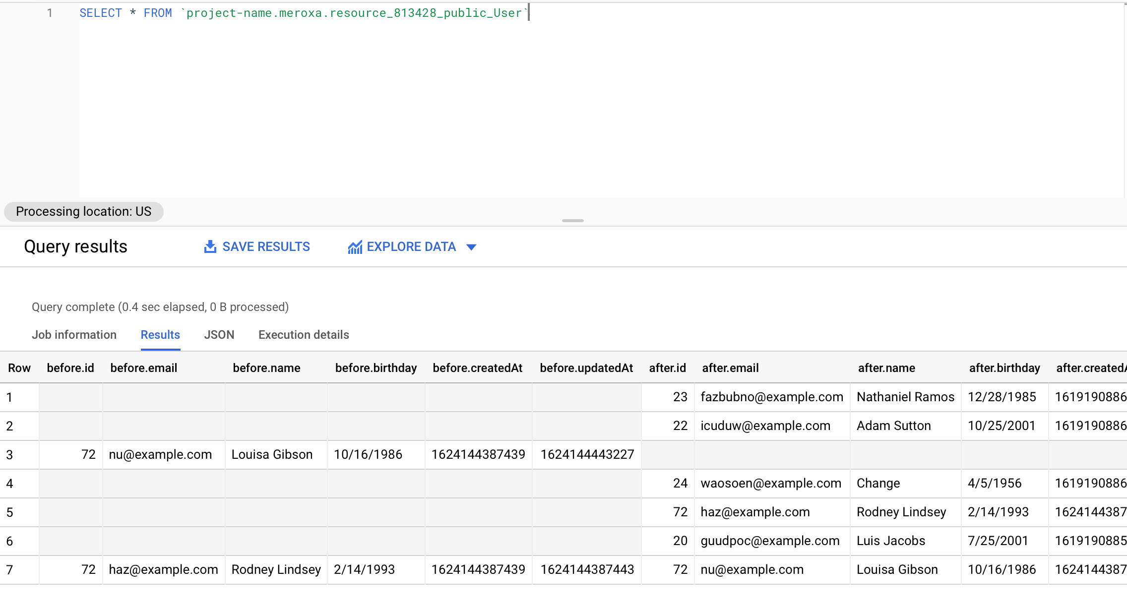 BigQuery Example Table