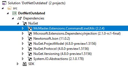 Dependencies in the Visual Studio Solution Explorer