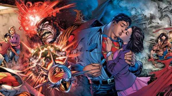 Superman de Bendis com Lois Lane, seus pais e após sua morte formam um painel