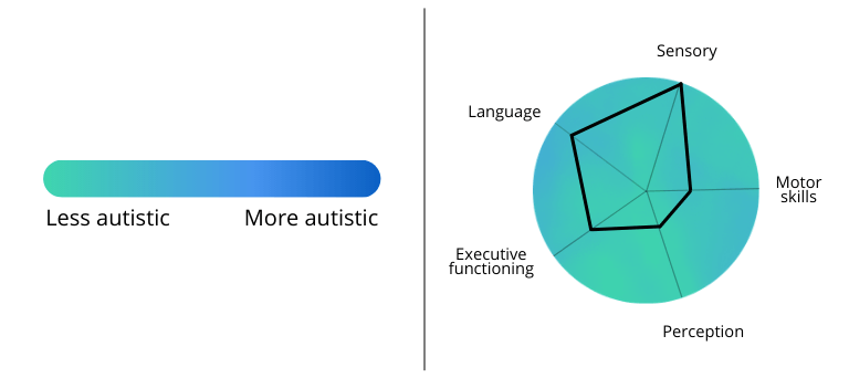 how people may think symptoms of autism appear (left) vs how symptoms could actually present (right)