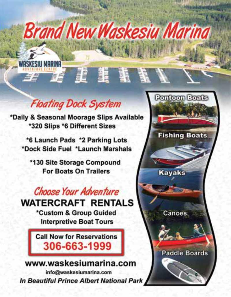 Canoe, kayak, and boat rental information for the Waskesiu Marina