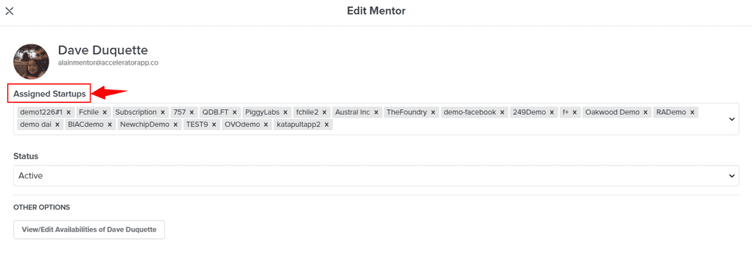 Assigning startups to a mentor