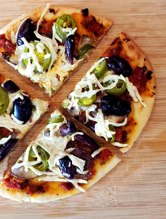 Spicy Flatbread Pizza with Mushroom and Jalapeños