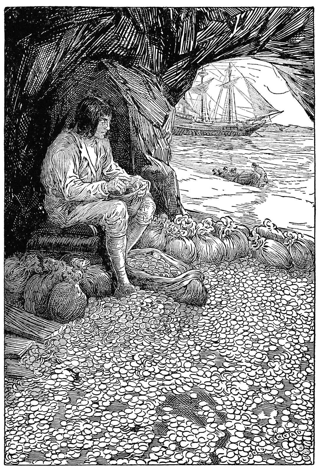 A man sits in a cave surrounded by coins