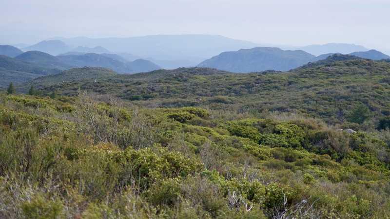 Hazy view of distant hills