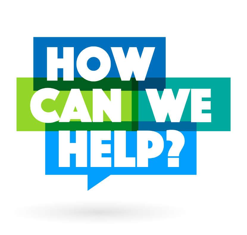 the words how can we help in blue and green