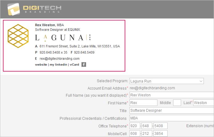 email signature live preview