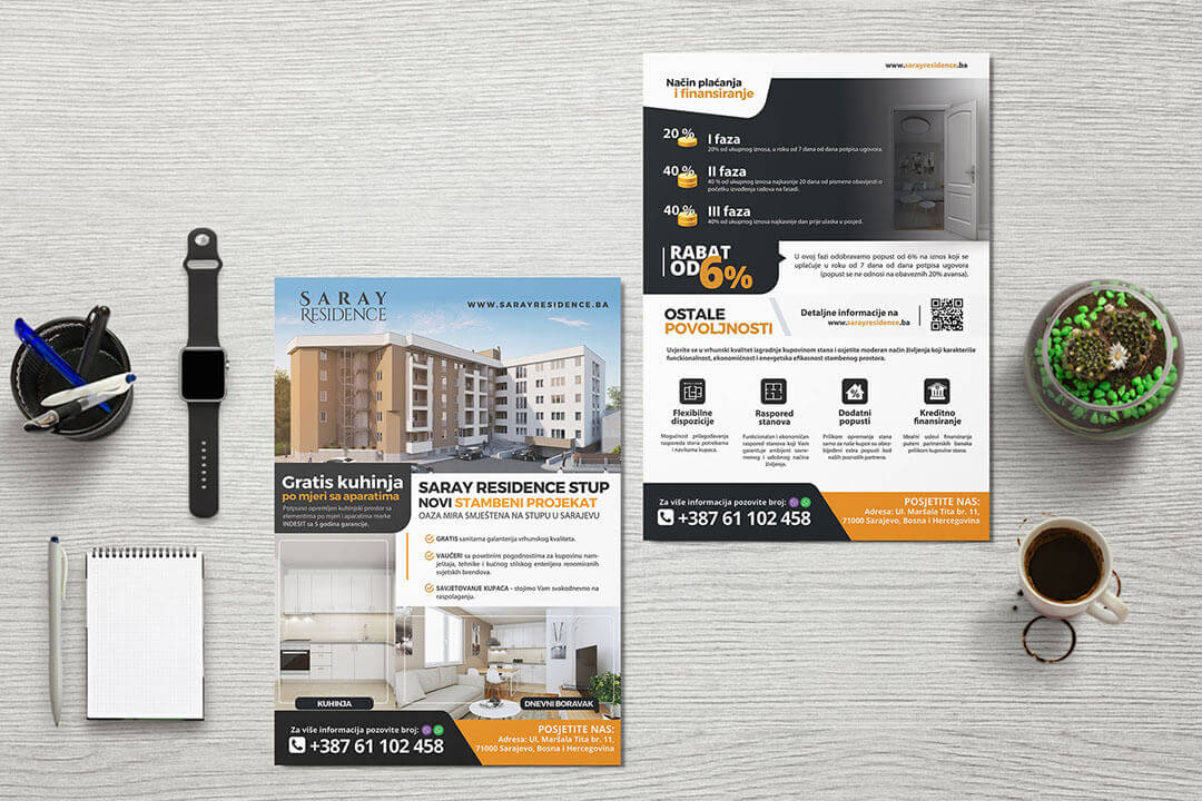 Project Saray Residence Real Estate, Flyer, Graphic Design