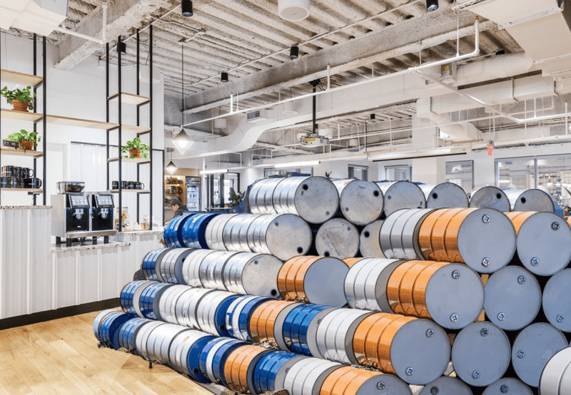 wework interior with new oil barrel tenants