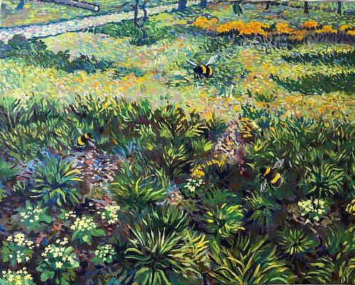colourful expressive painting of garden plants with bees