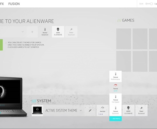 Alienware Command Center partial screenshot