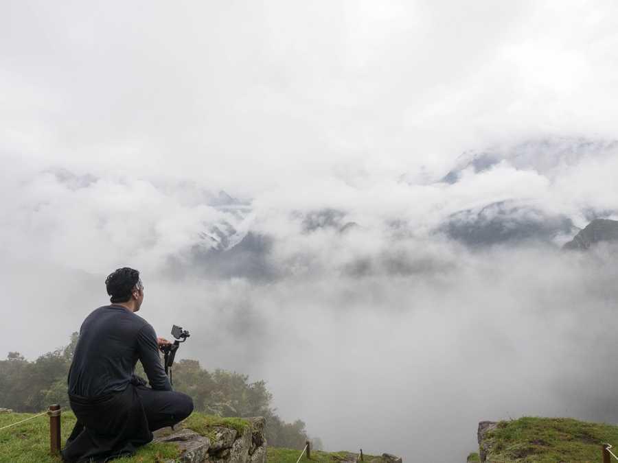 7am fog at the entrance of Machu Picchu