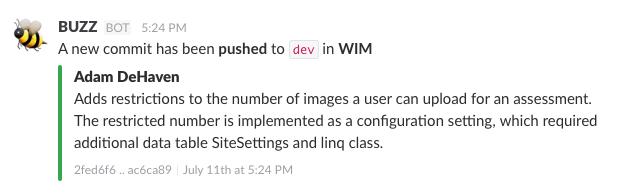 Slack Git Integration with Single Commit