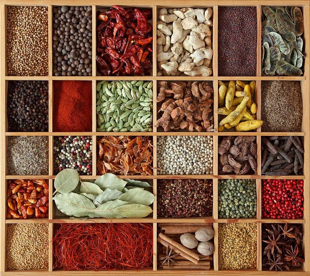 Hungry in the land of plenty: Exotic spices in a wooden box