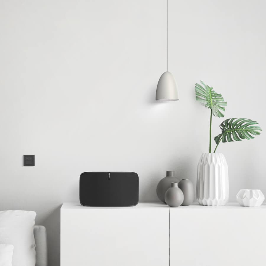 black nuimo click with sonos and philips hue in designer home