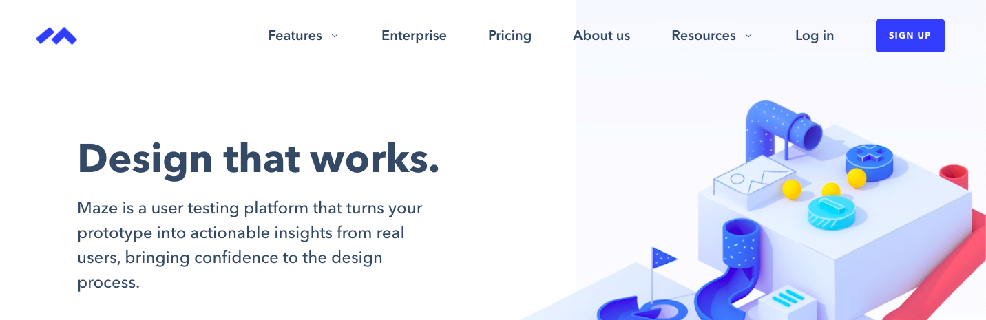 Screenshot of the Maze homepage on April 21, 2020